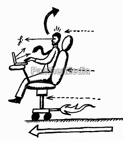 businessman working in moving office chair