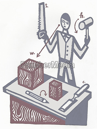 man holding saw and hammer with