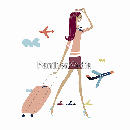 woman rolling luggage with airplanes in