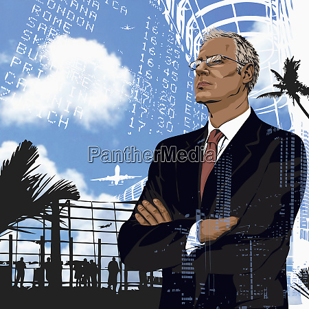 pensive well dressed businessman standing in
