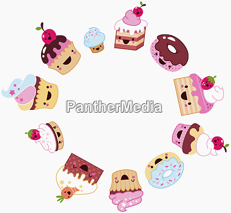 anthropomorphic sweets forming circle