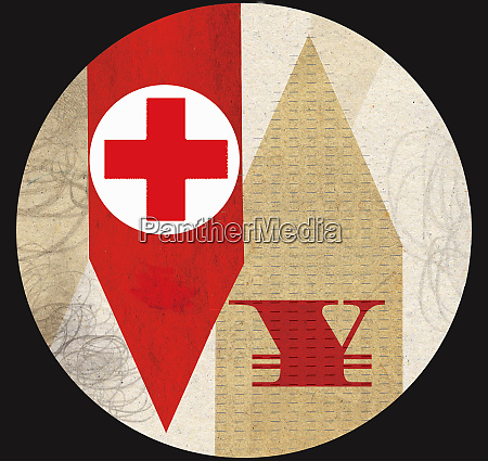 red cross with yen symbol on
