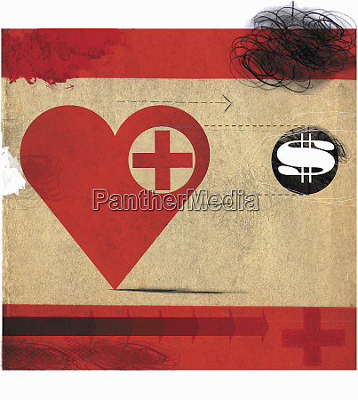 heart with red cross following dollar