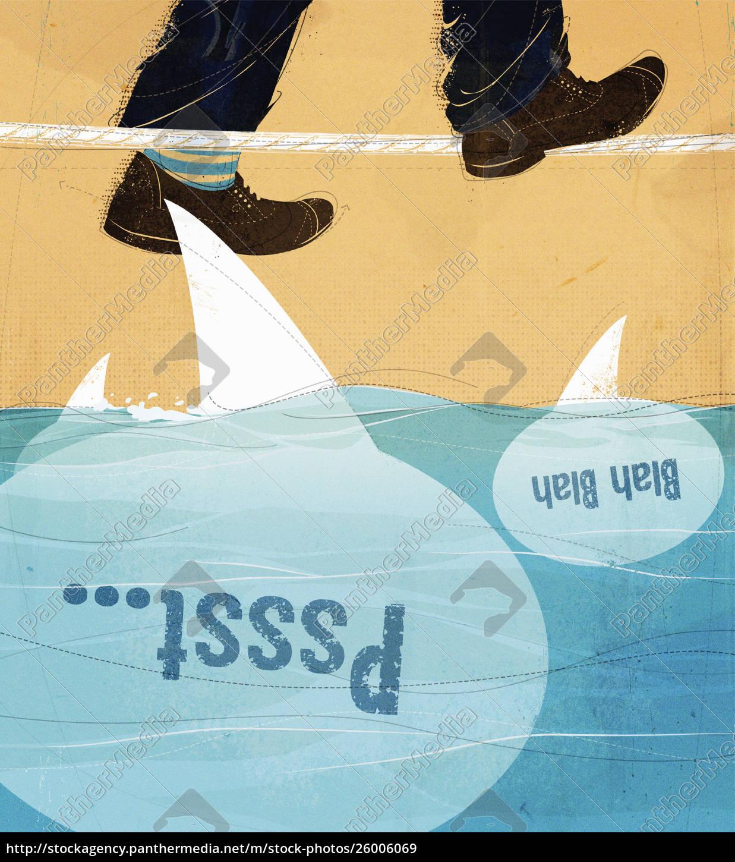 man's, feet, walking, tightrope, above, shark - 26006069