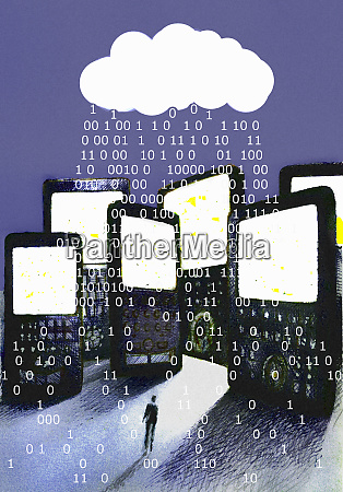 binary code raining over cell phones