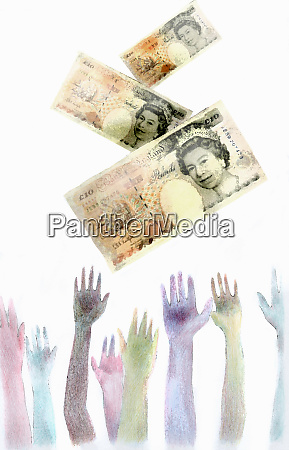 hands reaching for falling british pounds