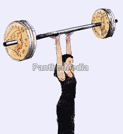 woman lifting barbell with british pound
