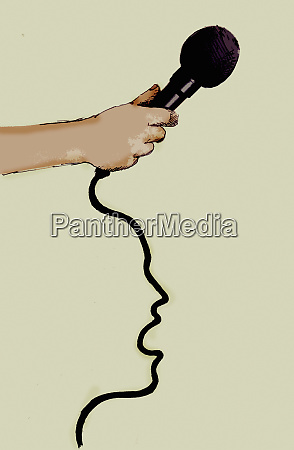 hand holding microphone with talking face