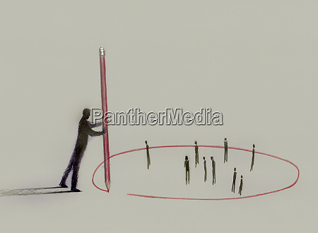 businessman with pencil drawing red circle
