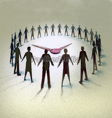 business people forming circle watching clock