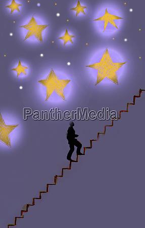 businessman climbing stairs towards stars