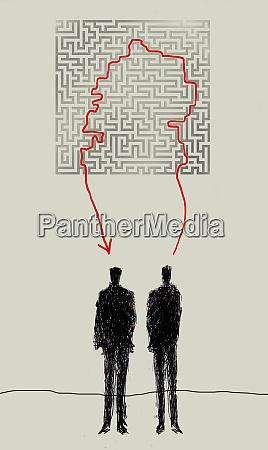 red line connecting businessmen through maze