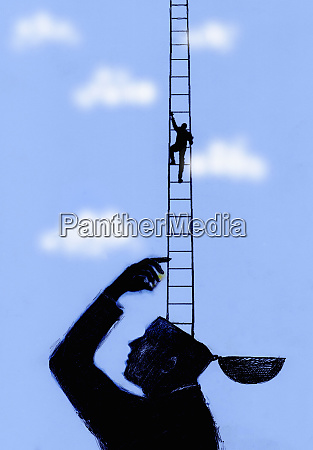small businessman ascending ladder from large