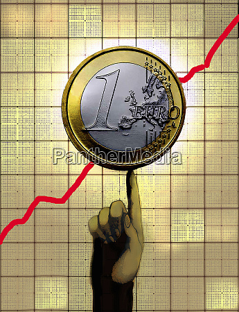 finger supporting euro coin on increasing