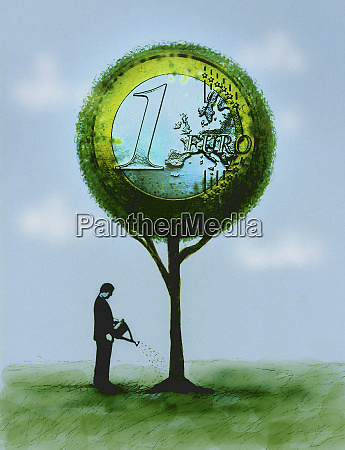 businessman watering euro coin money tree