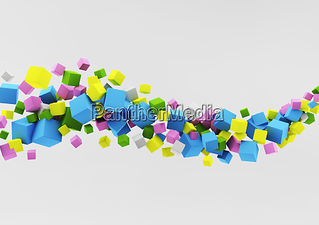 abstract floating wave of multicolor cubes