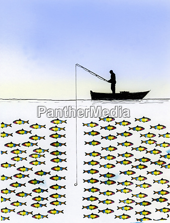 unsuccessful fisherman with large group of