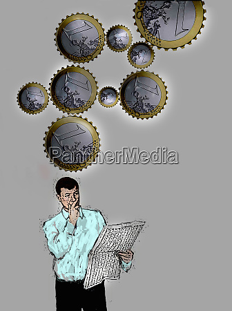 euro coin cogs above man reading