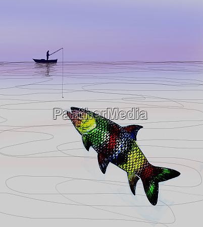 man trying to catch large multicolored