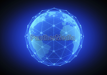 blue network grid covering glowing globe