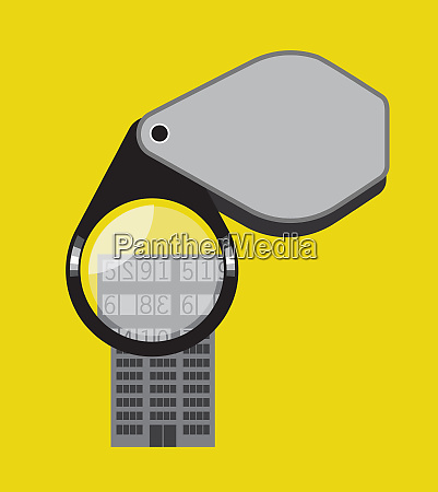 pocket magnifying glass over numbers on