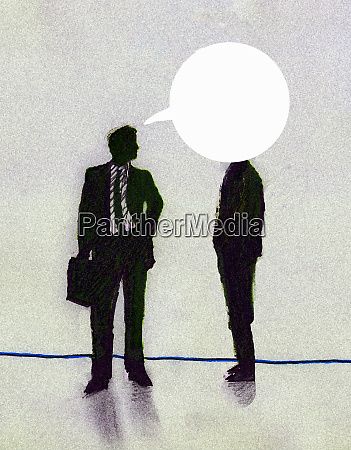 speech bubble from businessman covering coworkers