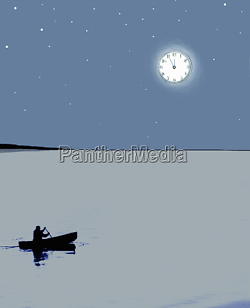 man in canoe under clock moon