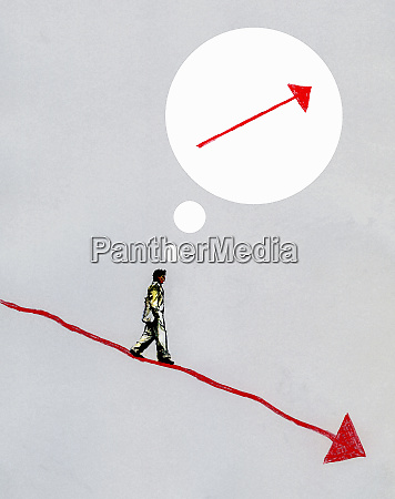businessman on descending arrow with ascending