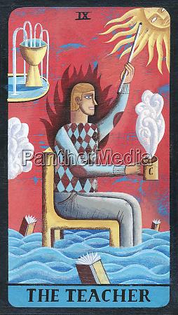 tarot card depicting man with coffee