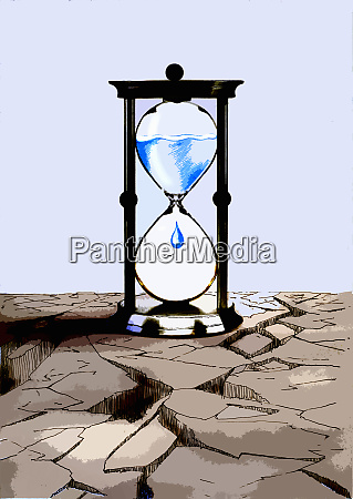 water dripping in hourglass on cracked