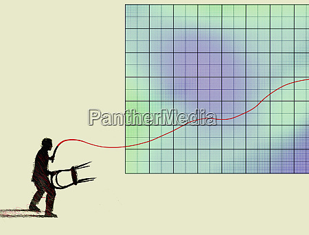 businessman lion tamer controlling line graph