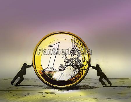 two businessmen pushing large euro coin