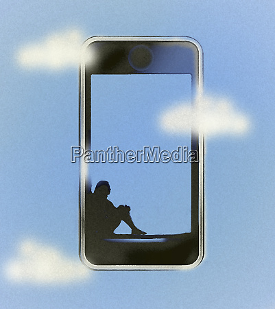 woman relaxing inside of smart phone