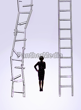 businesswoman choosing career ladder