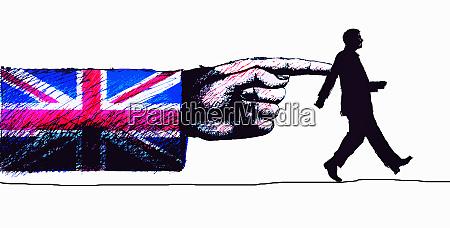 arm in british union jack flag