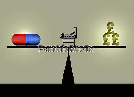 pill and dollar pound signs balancing