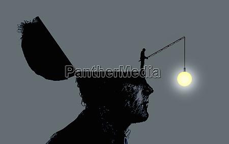 light bulb dangling on fishing line