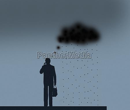 black rain cloud thought bubble over