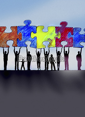 community working together to connect jigsaw