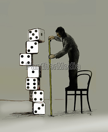businessman standing on chair measuring pile