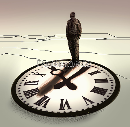 businessman standing on top of clock