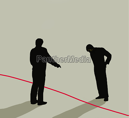 two men separated by red line