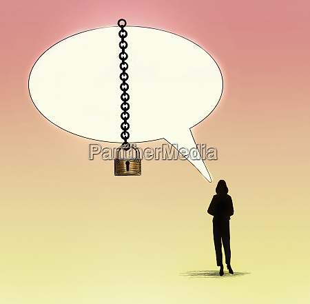 womans speech bubble padlocked with chain