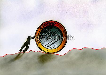businessman pushing euro coin along uneven
