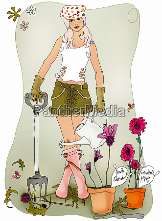 young woman gardening with garden fork