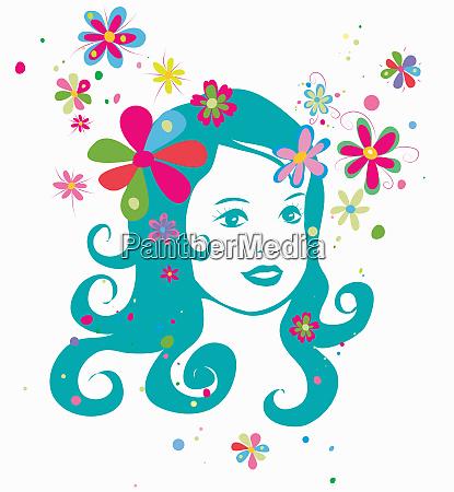 headshot of teenage girl and flowers