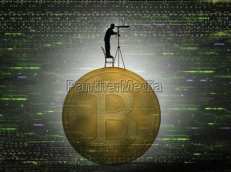 man looking through telescope forecasting bitcoin