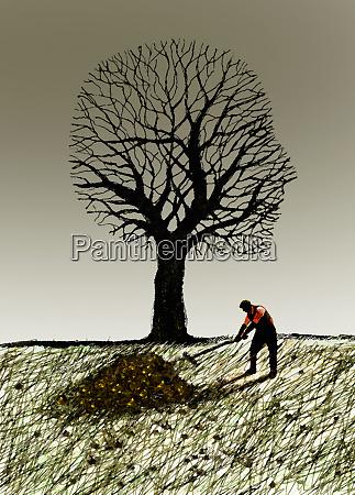 man raking autumn leaves under anthropomorphic