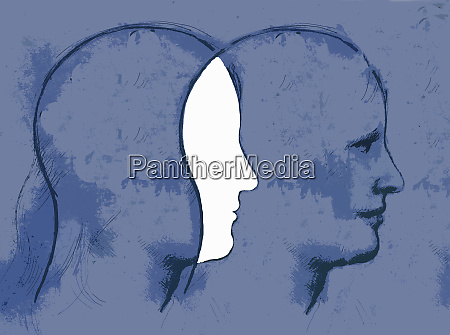 overlapping profiles of mans head