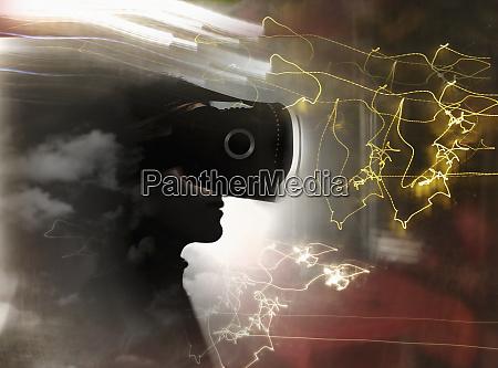 man wearing virtual reality headset among
